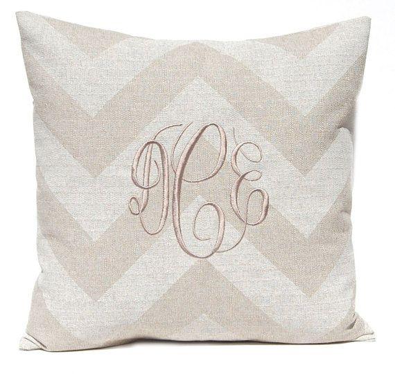 Burlap Pillow Cover Monogram Decorative Throw Pillow Cover Tan Fascinating Monogrammed Decorative Throw Pillows