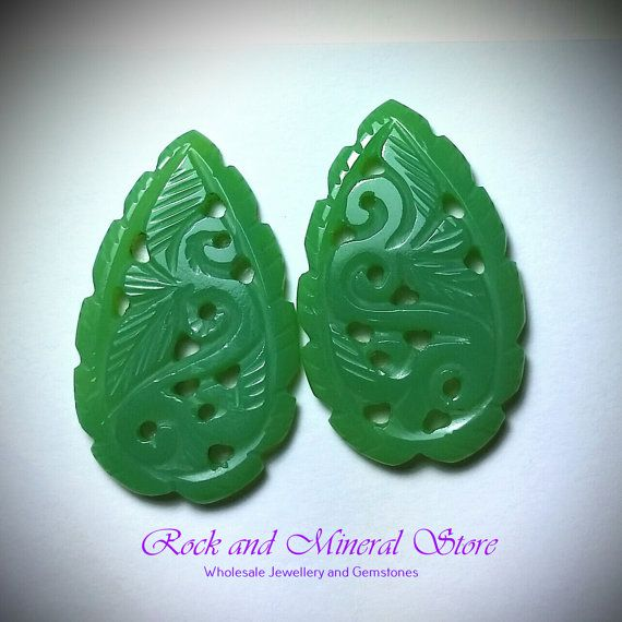 Carved Chrysoprase Cabochon Pair Cabs by rockandmineralstore