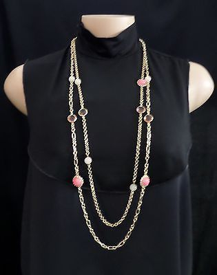 """ANN TAYLOR Women's Gold & Shades of Pink Double Chain Necklace 36"""" https://t.co/2gM3EVuM7E https://t.co/YuNZVmDMwz"""