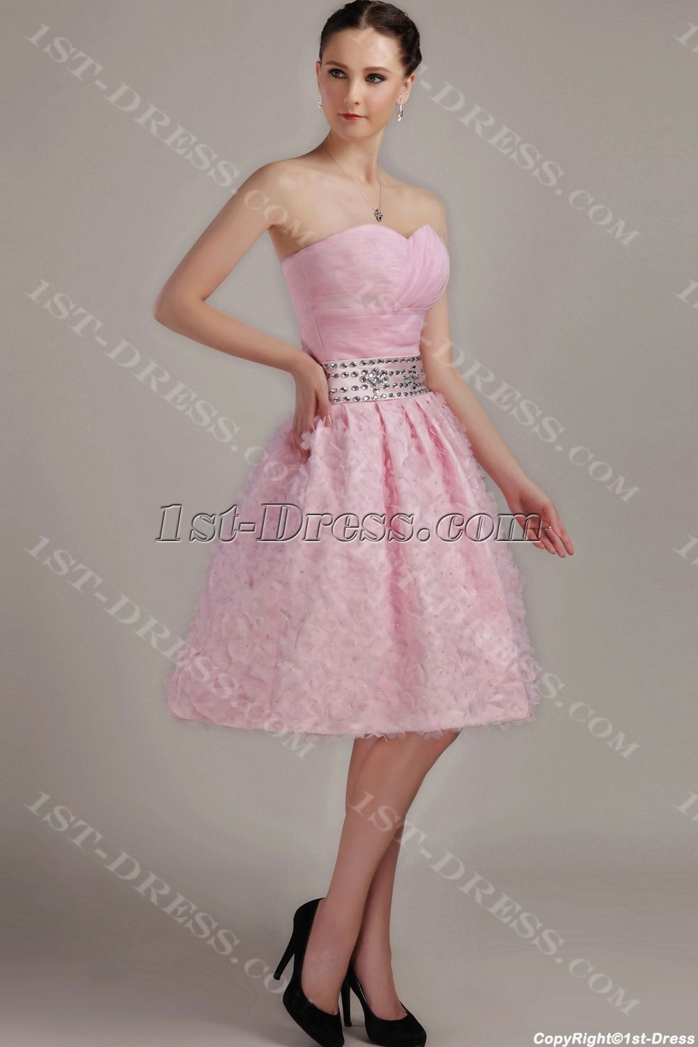 Pink Short Sweet Quinceanera Dress with Floral IMG_3168:1st-dress ...