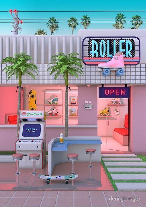 'Roller Skate Nostalgia' Photographic Print by dennybusyet #memphisdesign