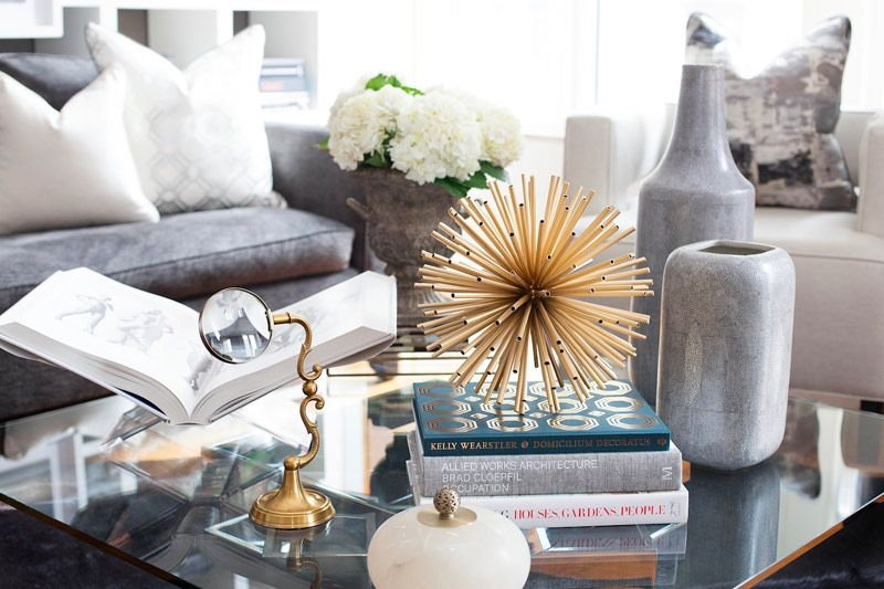 coffee table styling, interior decor, interior decorating, living room decor, living room decorating, glamour interior, glamour decor