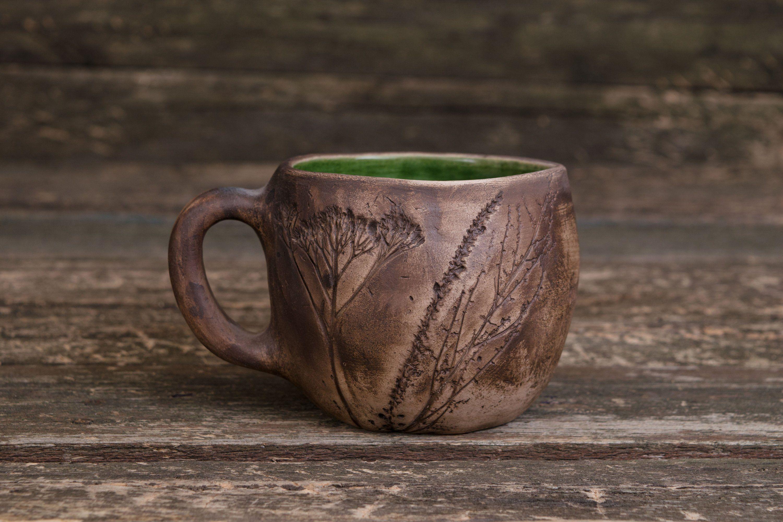 Unique Ceramic Floral Mug Handmade Pottery Mug Clay Coffee Mug