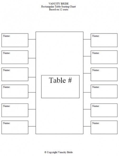 Free Individual Table Seating Charts Party Sitting Layout