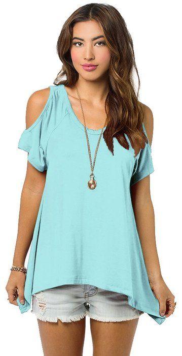 Women's Vogue Shoulder Off Wide Hem Design Top Shirt (Medium, Turquoise)