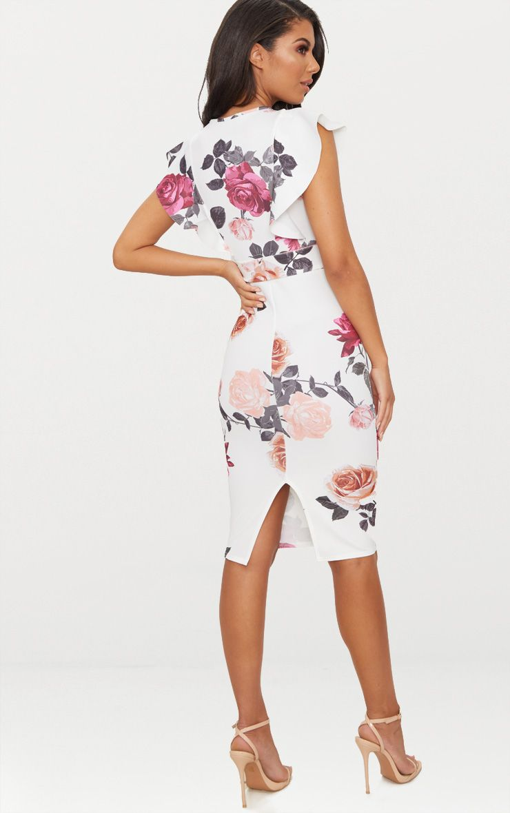 84877a1687b White Floral Print Frill Detail Midi Dress in 2019 | Expanza ...