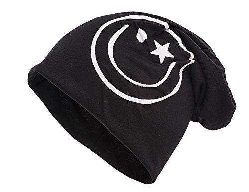 6f6a06a316f568 Shenky schwarze Mütze mit weißem Smiley. Jersey Beanies lang long und dünn  ideal auch für
