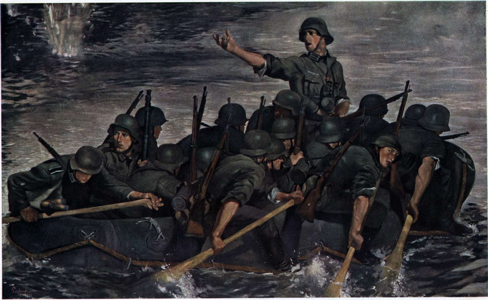 German troops crossing a river