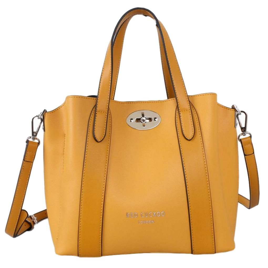 Mustard Tote Yellow Top Handle Grab Bag Red Cuckoo Slouchy Shoulder Bag Handbag