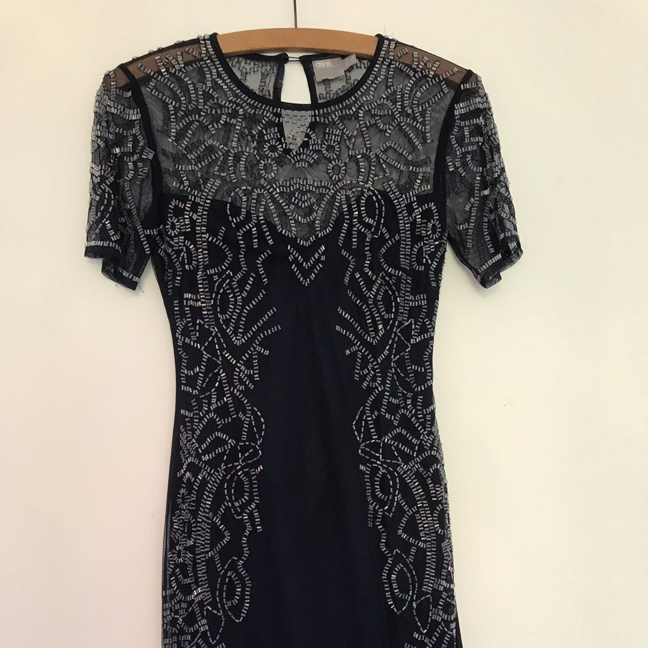 ASOS navy mini embroidered dress. Size 6. Worn once to an