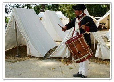 Yorktown Victory Center, Yorktown, Virginia includes a Contintental Army encampment recreation.