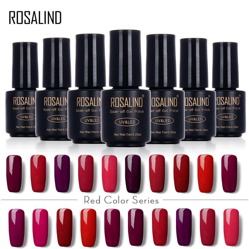 ROSALIND 7ML Red Color Series Gel Nail Polish Set for Manicure Gel ...