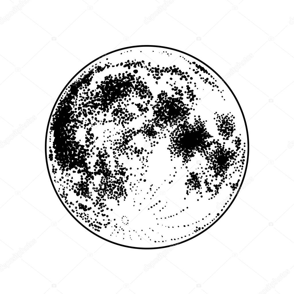Full Moon Vector Hand Drawn Illustration Dark Tattoo Design