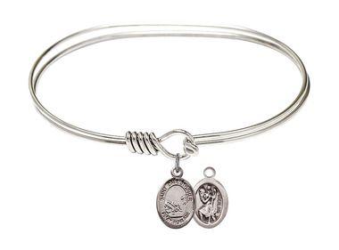 Sterling Silver Oval Eye Hook Bangle Bracelet - Saint Christopher - Fishing charm - 7 inch (B4206RH-9196SS)