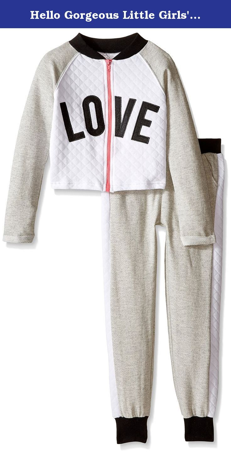Hello Gorgeous Little Girls' French Terry Jogger Set, Gray, 6X. Love French terry jogging set with diamond quilting.