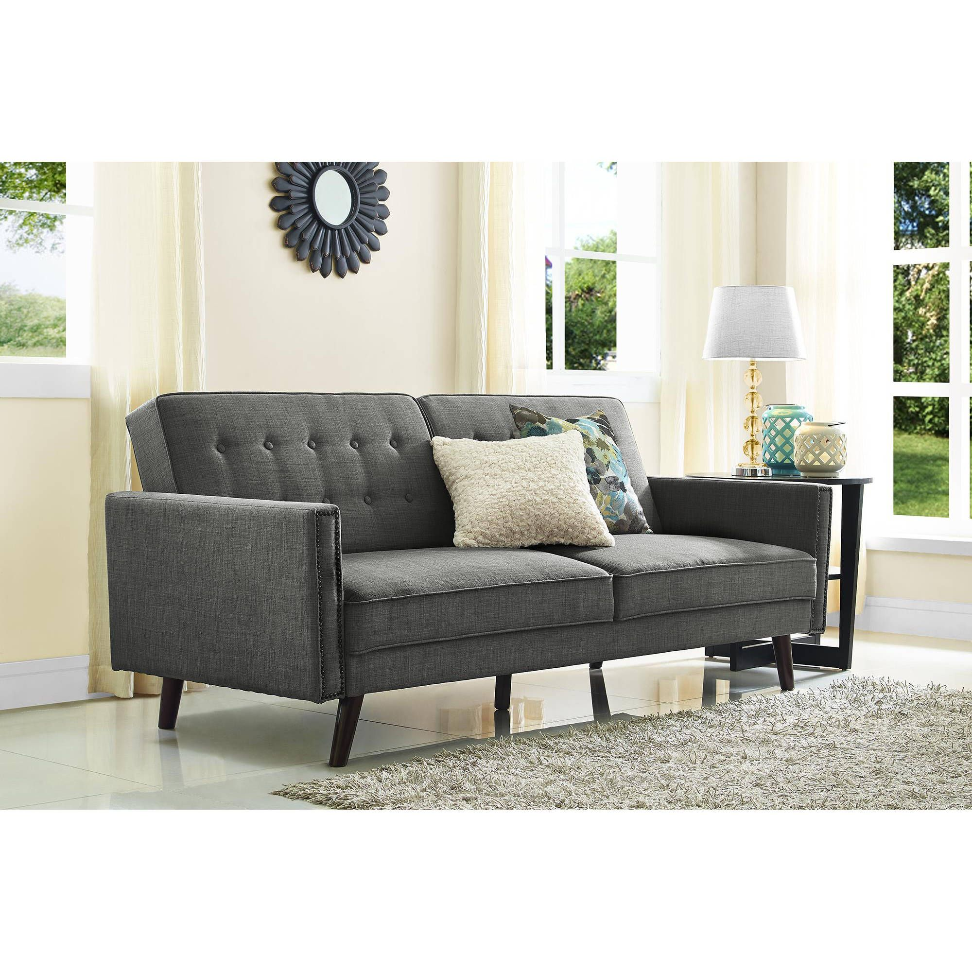 Better Homes And Gardens Rowan Linen Futon Grey Walmart