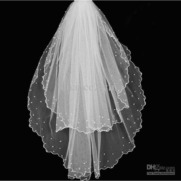 Wholesale Hot Sale Elegant Two-tier Wedding Veil Tulle Fingertip Beaded Edge Wedding Veils, $15.85-17.92/Piece | DHgate