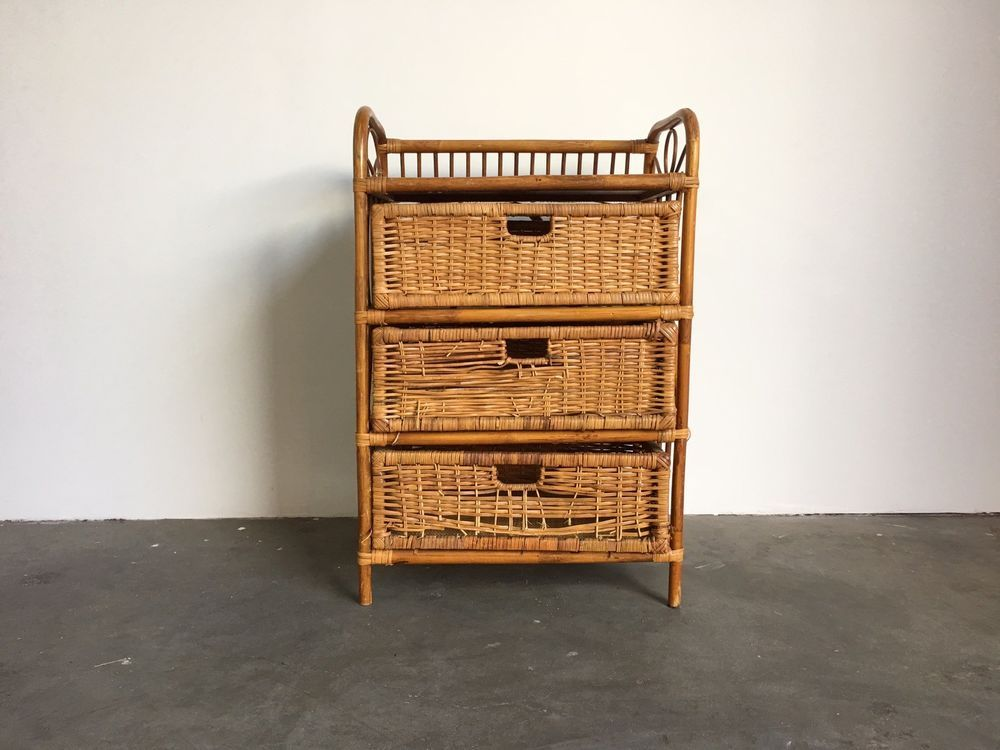 Bamboo 3 Drawer Dresser Boho Baby Changing Table Rattan Wicker