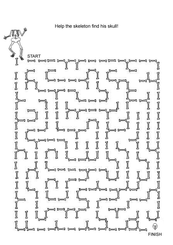 Free Online Printable Kids Games , Halloween Skeleton Maze