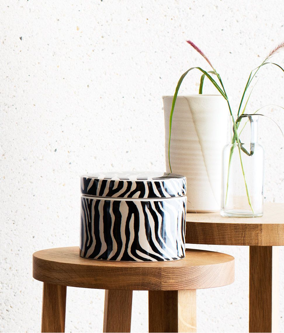 Ceramic Jar With A Zebra Patterned Surface And Removable Lid Hmhome Hm H M Home Home Collections Home