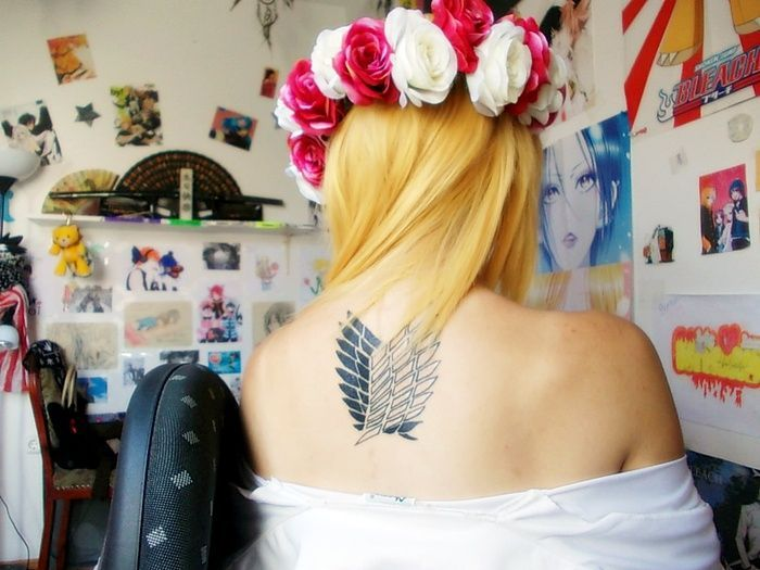 Attack on titan tattoo wings of freedom tats piercings for Attack on titan tattoo