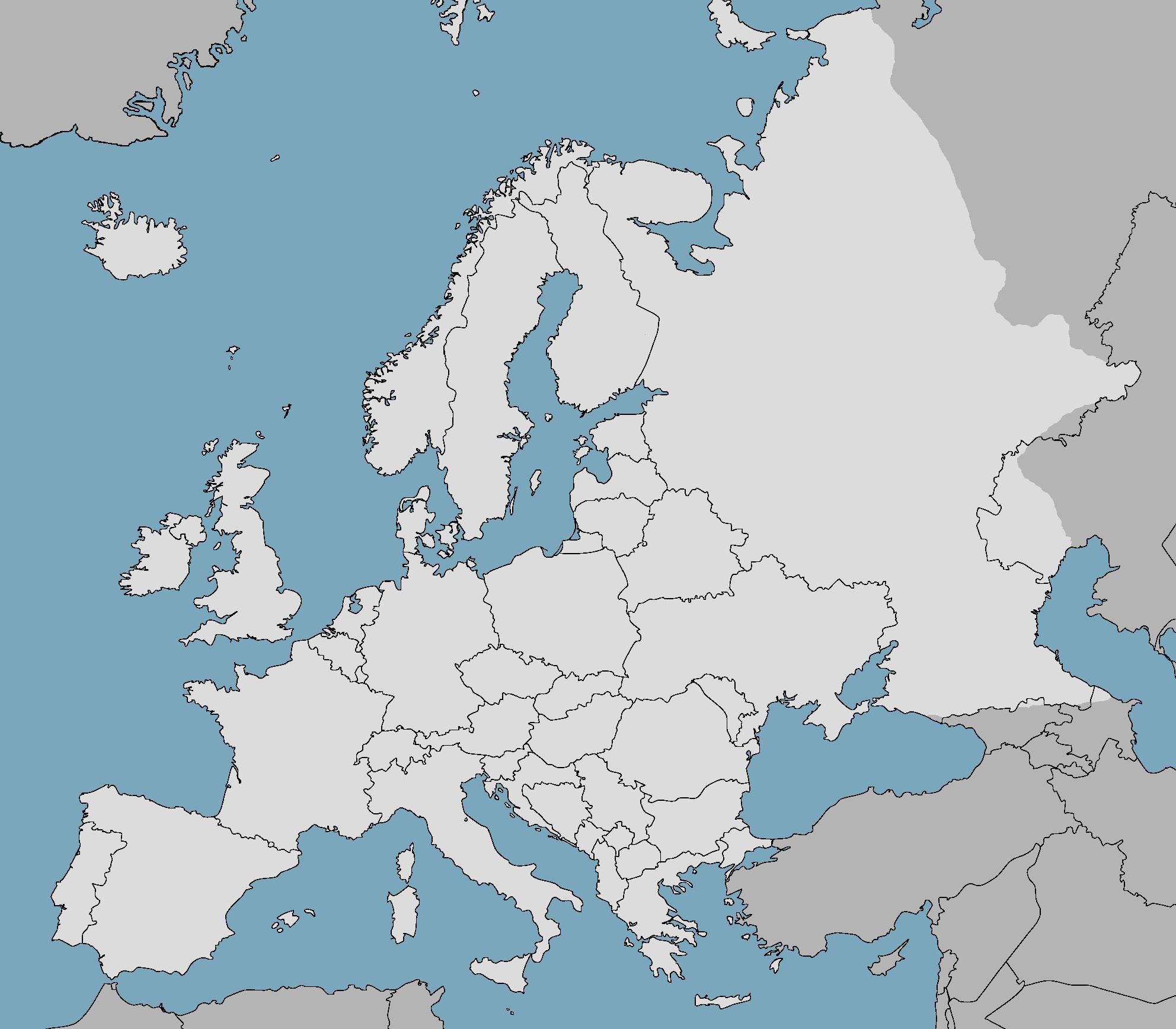 Blank Europe Blue Sea Map Europe Good Things