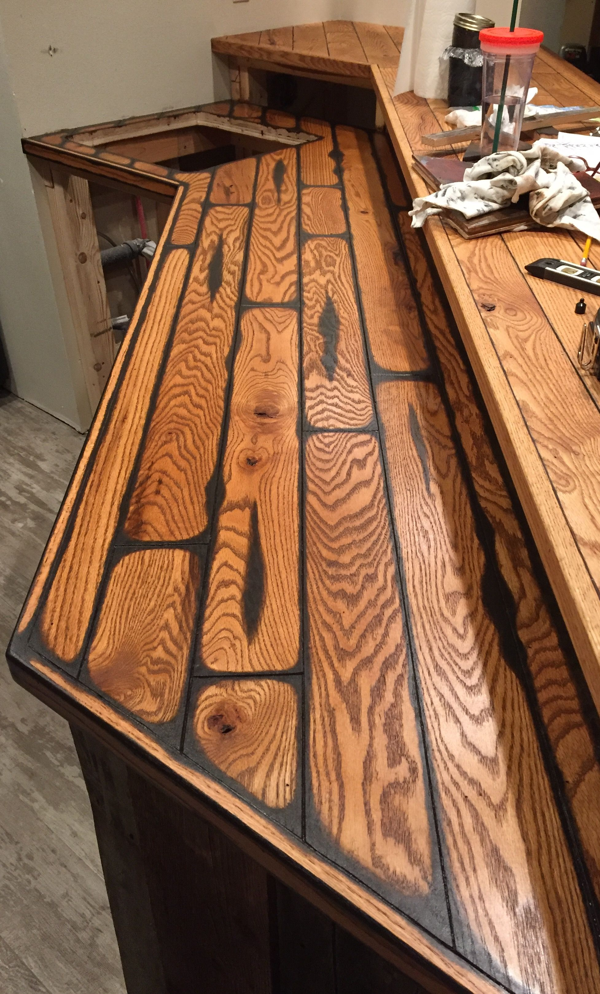 Ordinaire Oak Bar Top Second Coat Of Stain Over Glaze