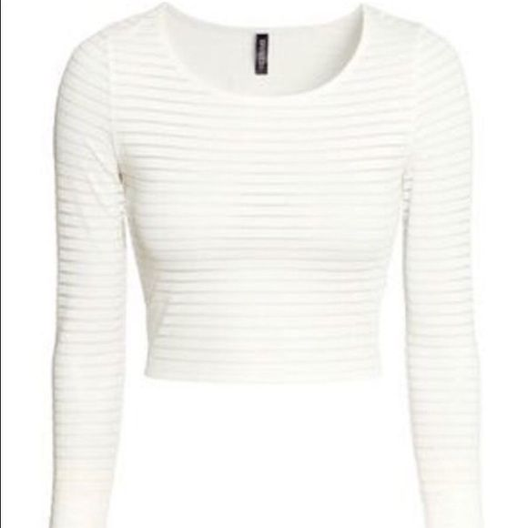 6cd5cddc13 H M long sleeve white striped mesh crop top -Vanilla white striped mesh  crop top from the divided brand from H M. - size XS. - perfect condition.