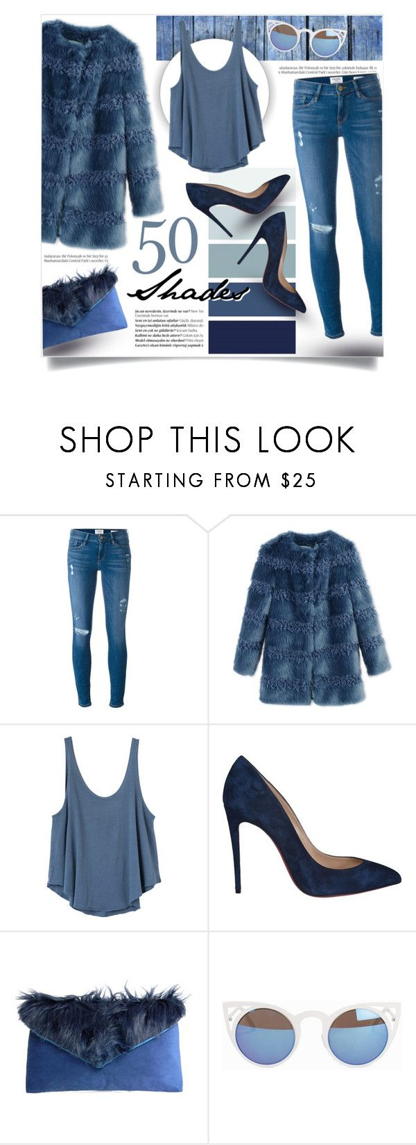 """50 Shades"" by tammara-d ❤ liked on Polyvore featuring Balmain, Frame Denim, Shrimps, RVCA, Christian Louboutin, Quay, Blue, ShadesofBlue, furcoat and onecoloroutfit"