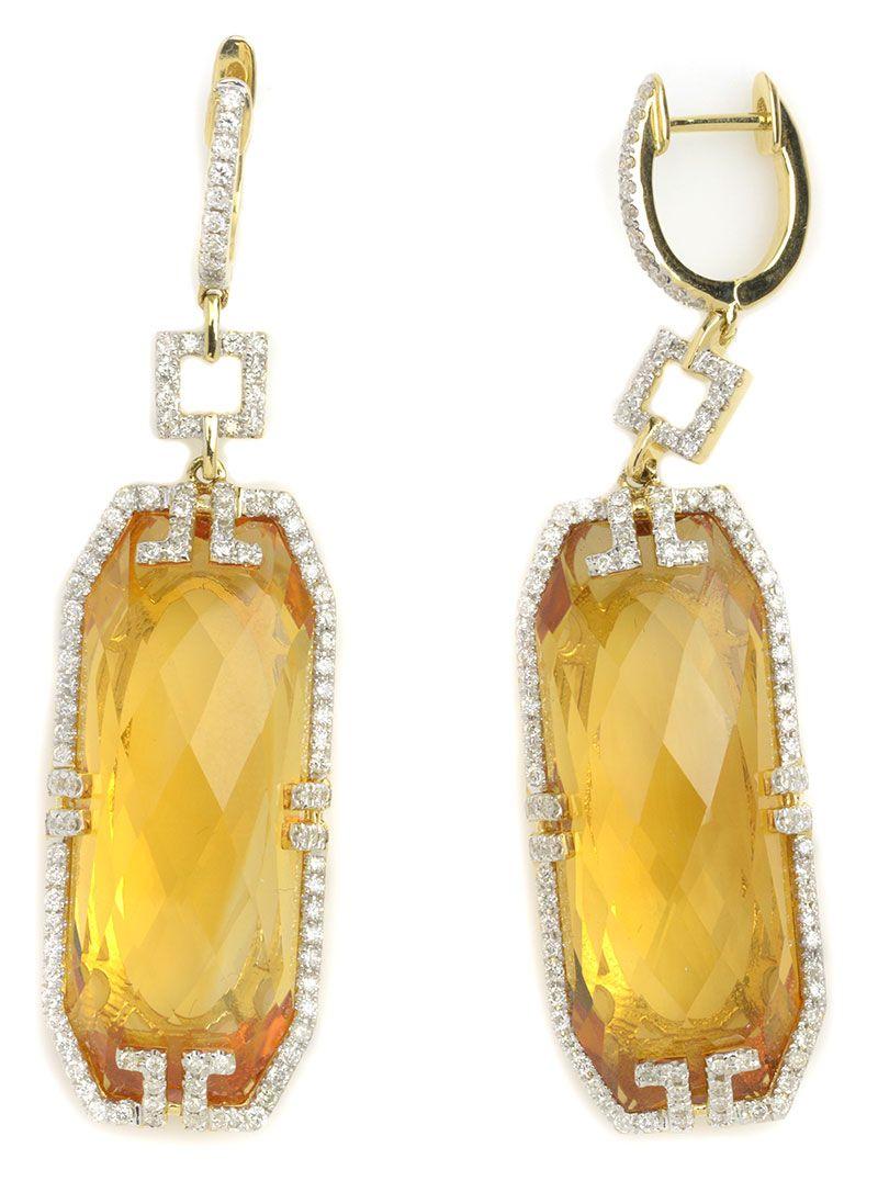 Stunning Yellow Citrine Dangle Earrings Item 416 121416 Michael Christoff 37 00 Ctw Pinele Crown Octagon 1 Diamond Round 14k
