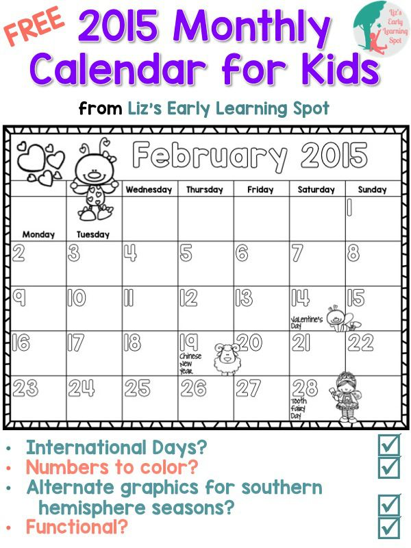 2015 Free Monthly Calendar For Kids Free Online Learning Resource