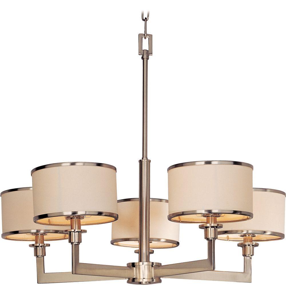 Maxim Lighting Satin Nickel Chandelier With Drum Lamp Shades 12055wtsn