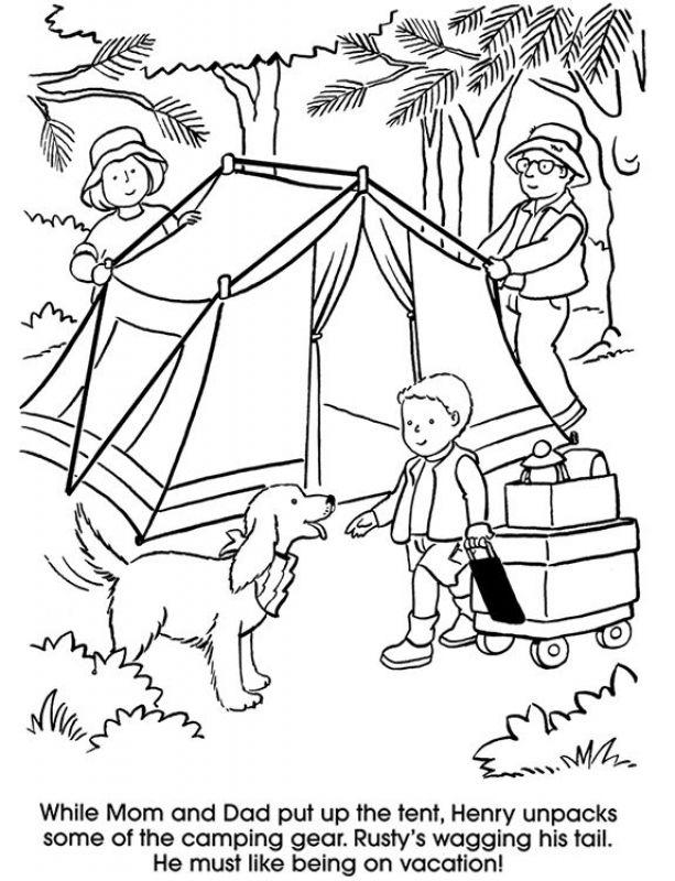 Camping family with dog coloring pages