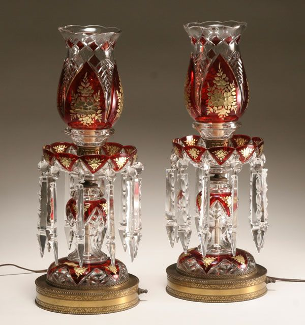 Pair of bohemian crystal lustre lamps cut to clear lead for Lustre baroque noir