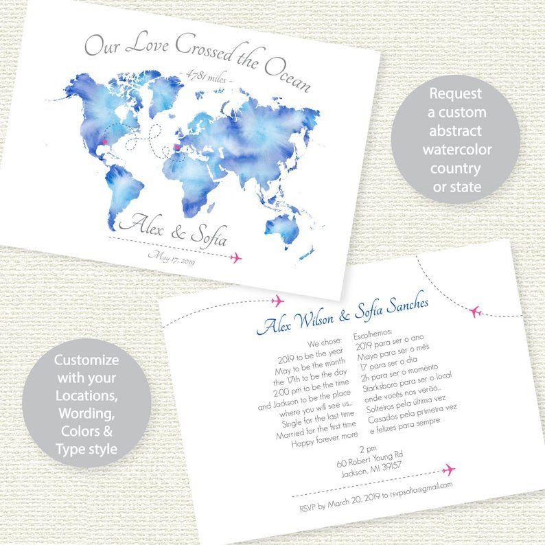 Reise Thema Hochzeitseinladung Karte Hochzeitseinladung Ziel