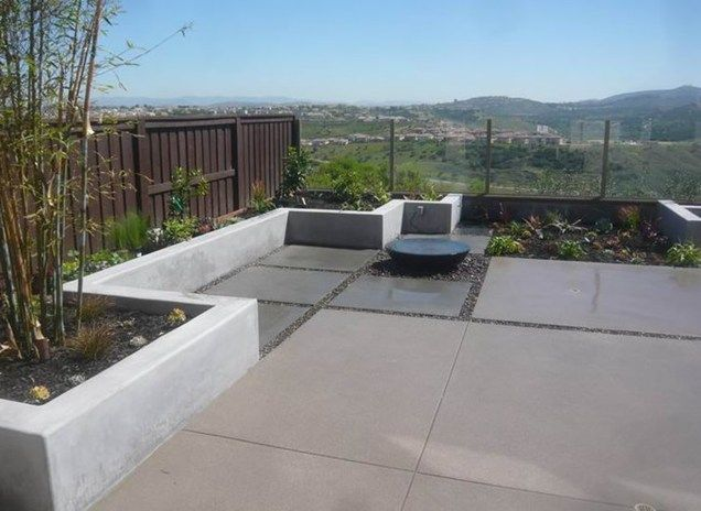 Perfect Modern, Concrete, Charcoal, Tan, Fountain Backyard Landscaping Quality  Living Landscape San Marcos