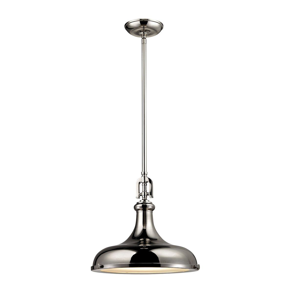rutherford 1 light pendant in polished nickel by elk lighting group
