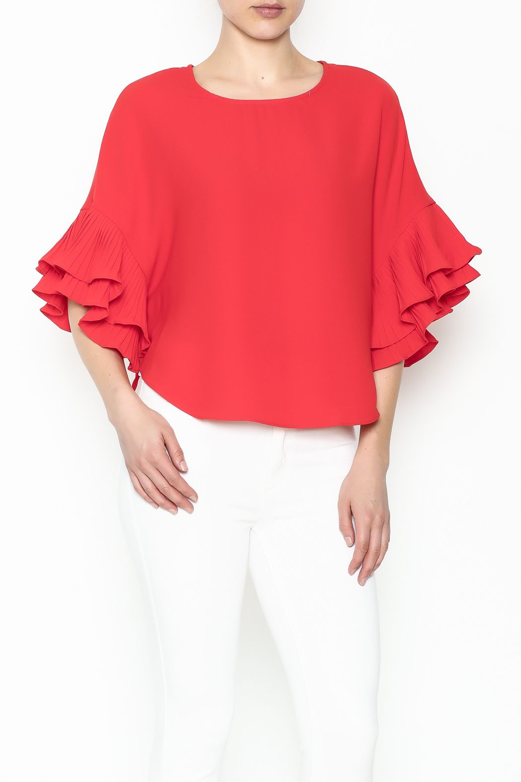 Solid color bell sleeve red top. Bell Sleeve Top by cq by cq. Clothing -  Tops - Blouses & Shirts Brooklyn, New York City New York City