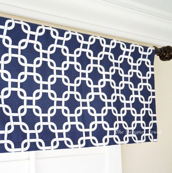 This Listing Is For A Navy Blue And White Window Valance These