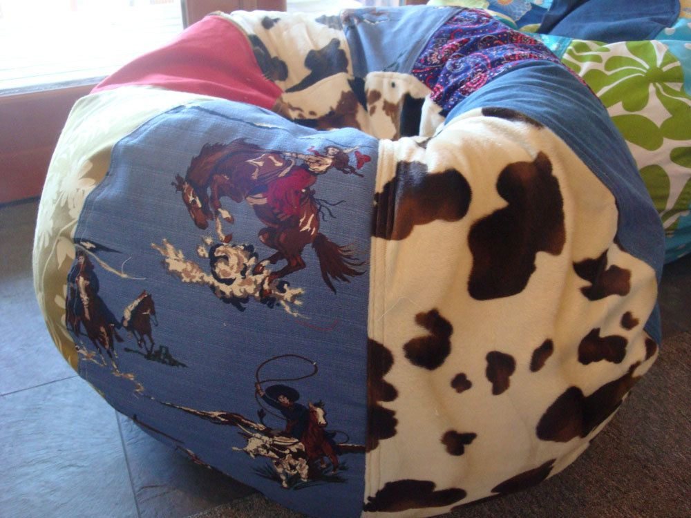 Astonishing Vintage Style Cowgirl Bean Bag Chair With Mulitple Prints Bralicious Painted Fabric Chair Ideas Braliciousco