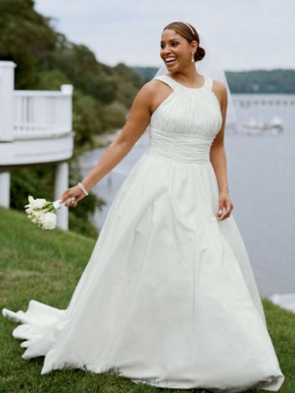 1c49fd85081 Simple A-line Long Plus Size Wedding Dress in 2019