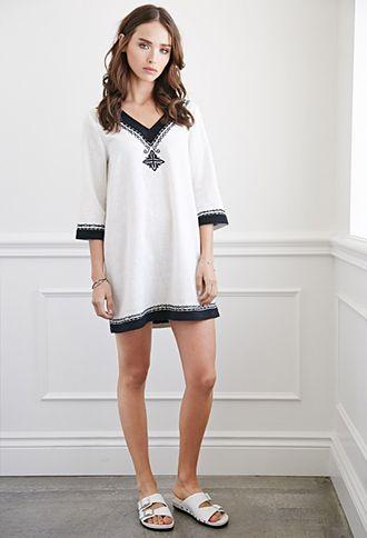 Diamond-Embroidered Mini Dress | Forever 21 - 2000076955