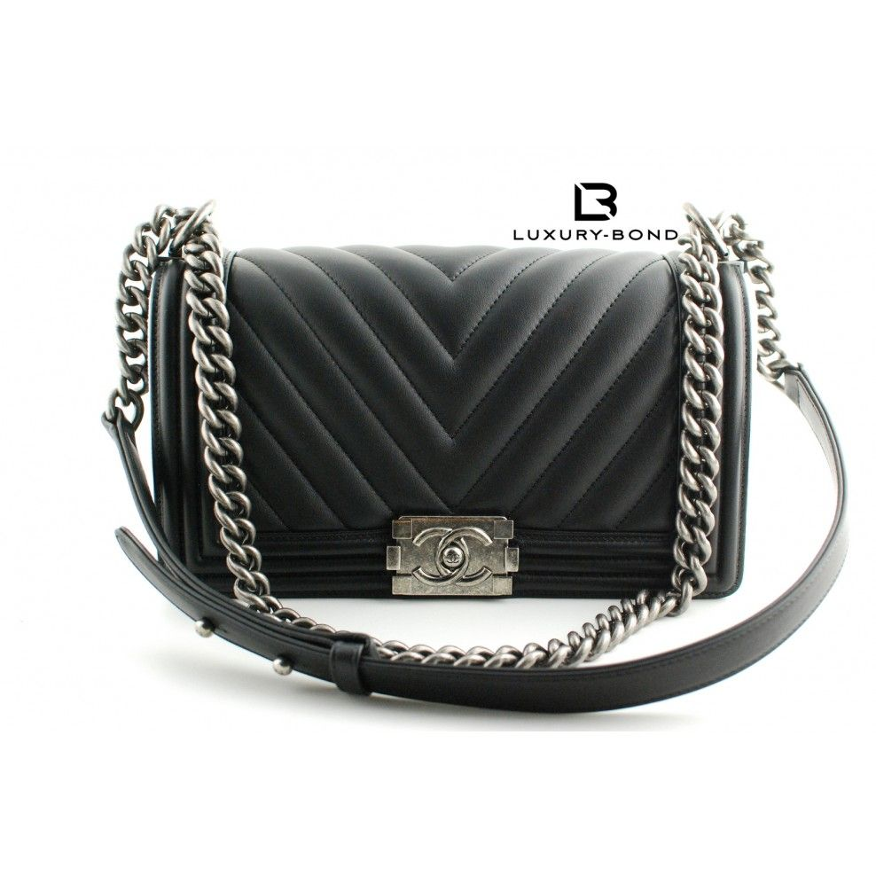 3b8de2988ef6 NWT CHANEL Le Boy Wode CHEVRON Limited Edition Old Medium Size Black CALF  Flap Bag Ruthenium Hardware