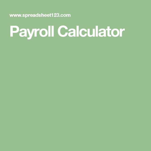 Payroll Calculator  Finance    Calculator Template