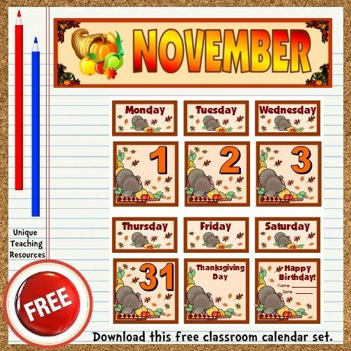 November Calendar Bulletin Board Ideas : Free printable november classroom calendar for school