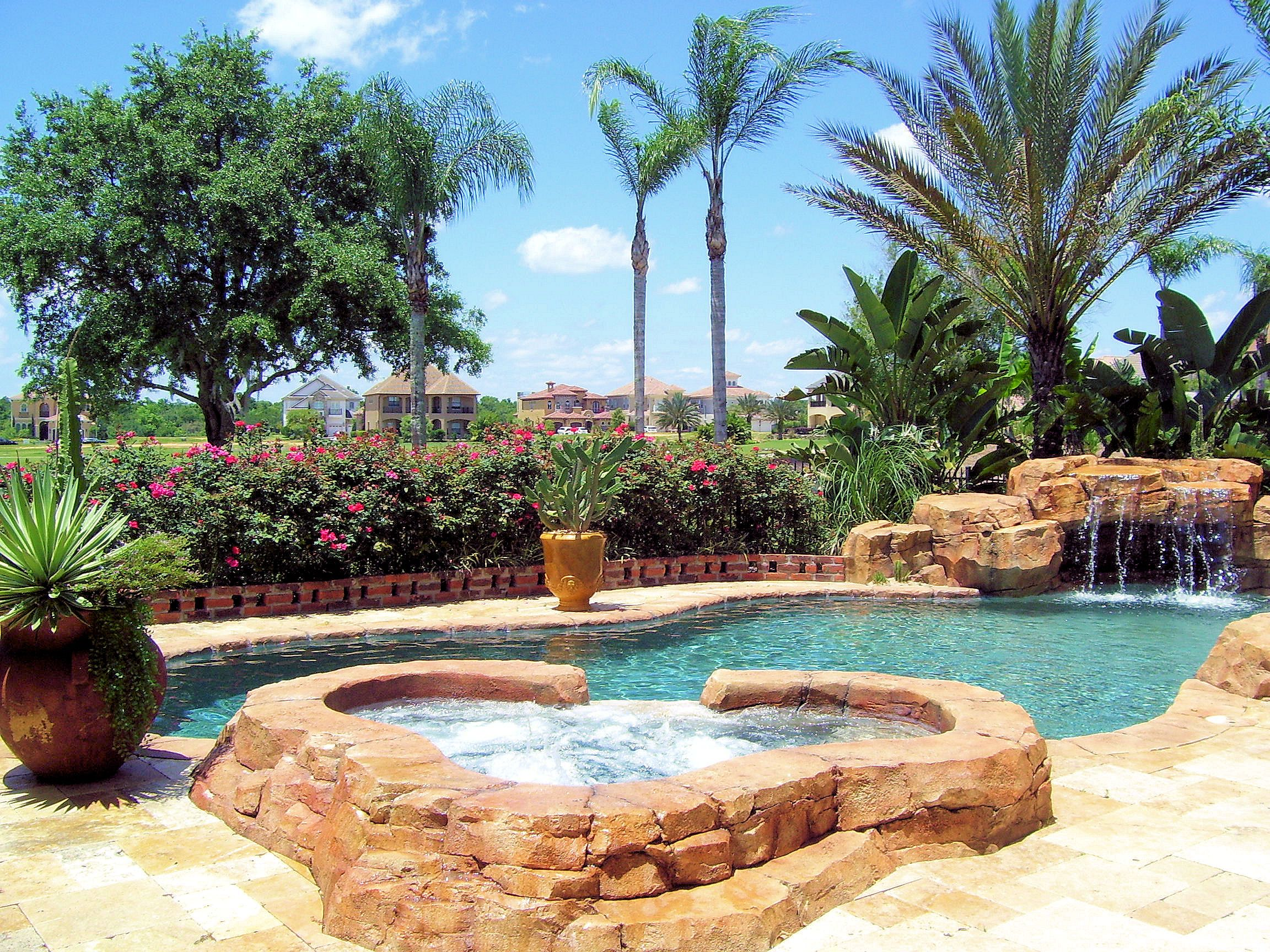 Spanish Villa At Rent A Home In Reunion Pool View Of Spa And Water Fall Overlooking Golf Course Vacation Rental Vacation Dream House Exterior