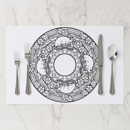 Color Your Own Coloring Book Design Rats Paper Placemat - kitchen gifts diy ideas decor special unique individual customized