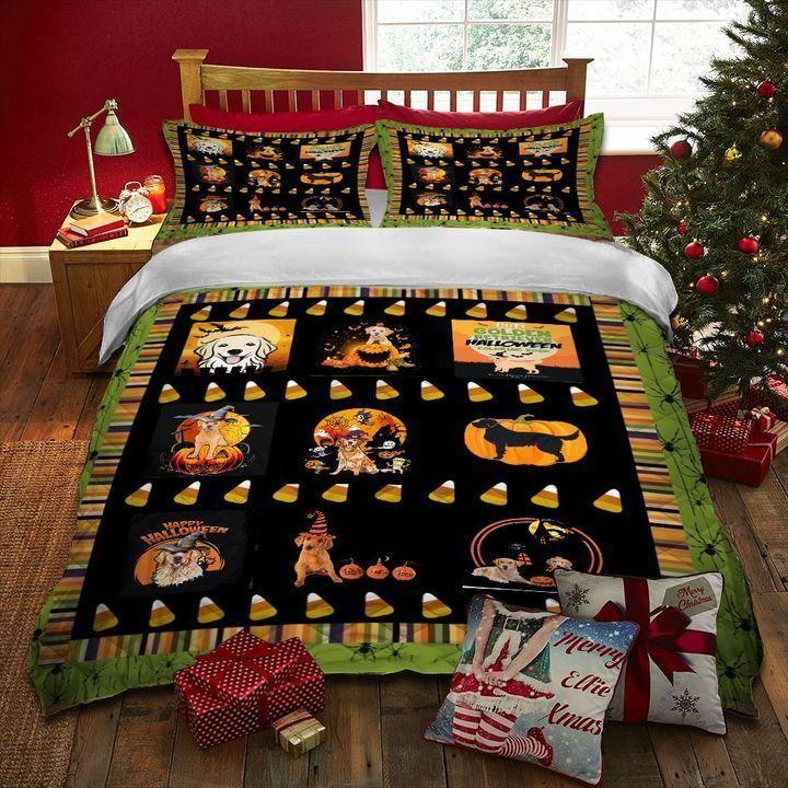Halloween Golden Retriever Bedding sets   Colorful   Duvet Covers   Full Sizes - Bedding Set / GB King