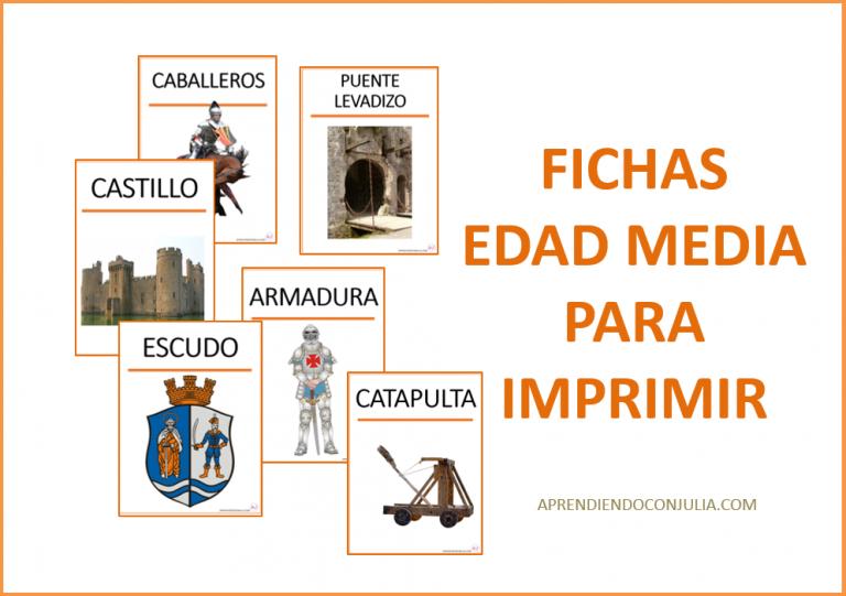 Tarjetas de vocabulario medieval para imprimir. Proyecto de la edad media.