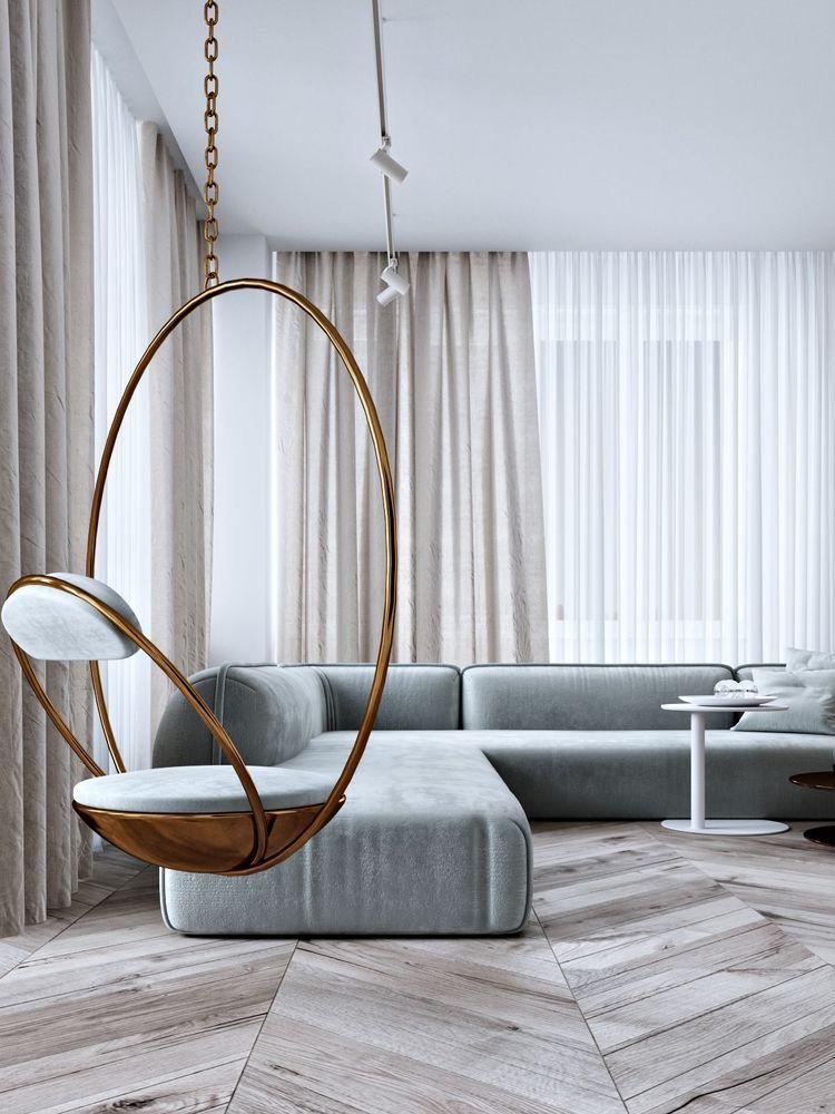 Swing Chair Living Room Design Modern Minimalist Living Room